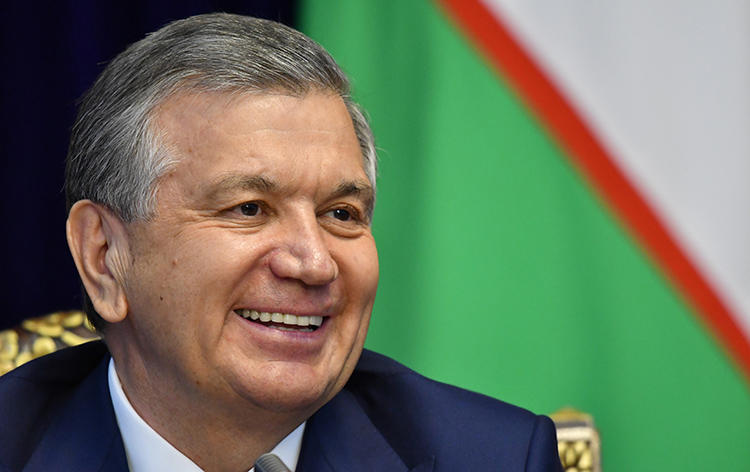 Uzbek President Shavkat Mirziyoyev, pictured in September 2017, is due to travel to the U.S. in May 2018. CPJ joins calls for human rights to be made a priority during his trip. (AFP/Vyacheslav Oseledko)