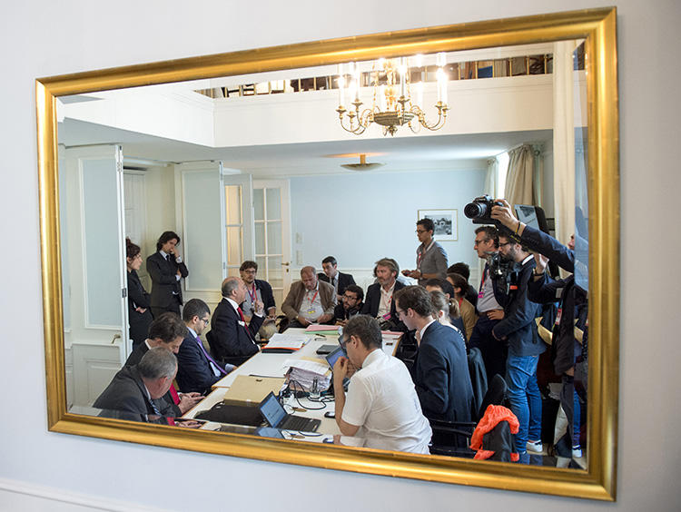 The French delegation briefs journalists during nuclear talks in Vienna in July 2015. The future of the deal is in question after the U.S. pulled out. (Reuters/Joe Klamar/Pool)