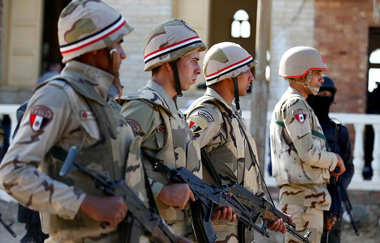 Military forces in North Sinai, Egypt, in December 2017. A military court has sentenced freelancer Ismail Alexandrani, who reported on unrest in the region, to 10 years in prison. (Reuters/Mohamed Abd El Ghany)