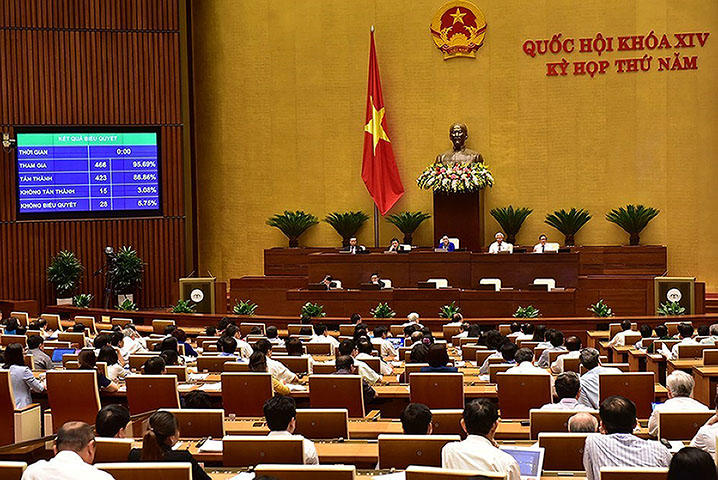 Vietnam's parliament votes to approve a cyber security law on June 12, 2018. Vietnamese lawmakers on June 12 approved a sweeping cyber security law which could compel foreign websites to remove critical posts, according to reports. (AFP/Vietnam News Agency)