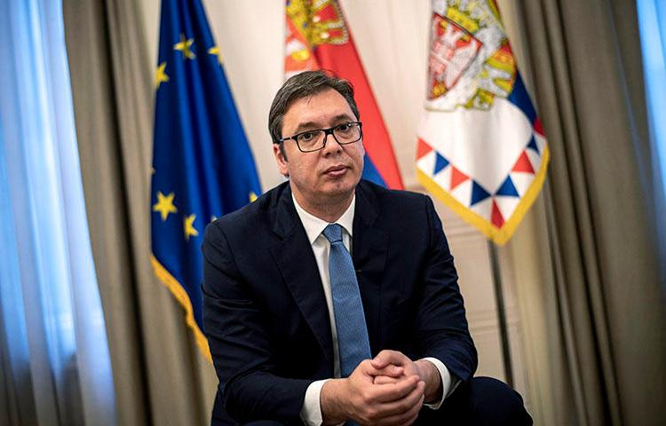 Serbian President Aleksandar Vucic during an interview on May 14, 2018, in Belgrade. Stefan Cvetković, a prominent Serbian freelance journalist, went missing late June 13. (AFP/Andrej Isakovic)