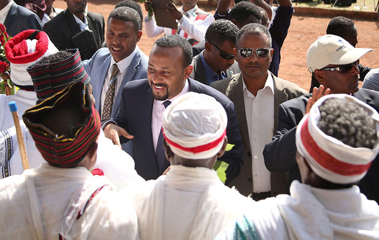 Ethiopian Prime Minister Abiy Ahmed arrives for a rally in the Oromia region in April, 2018. His government has allowed access to hundreds of websites that had been blocked in the country. (Reuters/Tiksa Negeri)