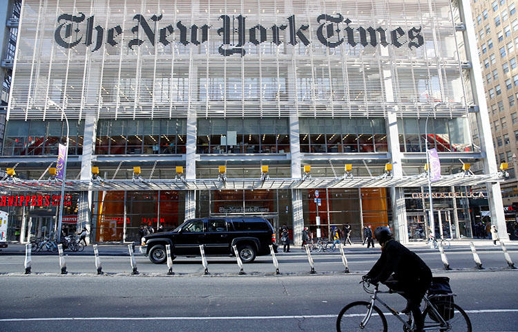 The New York Times building in New York City in November 2016. The United States Justice Department seized phone and email records from New York Times reporter Ali Watkins, according to reports. (Reuters/Shannon Stapleton)