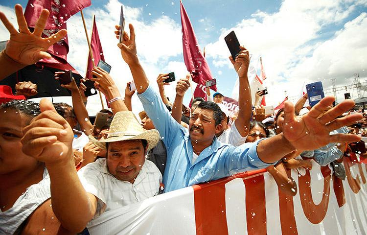 Supporters of presidential front-runner Andrés Manuel López Obrador (not pictured) at a political rally n Oaxaca, on June 16. (Reuters/Jorge Luis Plata)