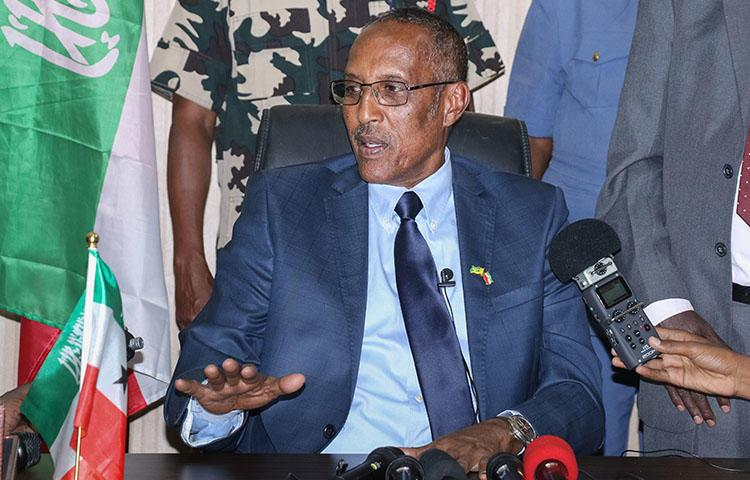 President Muse Bihi Abdi addresses a press conference in Hargeisa, Somaliland, in November 2017. Muse Bihi's government suspended critical daily newspaper Waaberi, claiming problems with its ownership registration. (AFP)