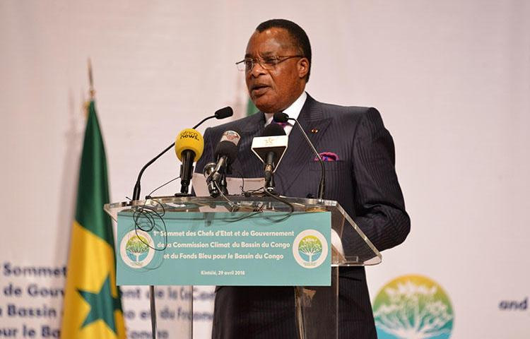 Republic of Congo President Denis Sassou Nguesso speaks on April 29, 2018, in Brazzaville. Editor Ghys Fortuné Dombé Bemba was released July 3, 2018, after nearly 18 months in prison without charge in Brazzaville. (AFP/Laudes Martial Mbon)
