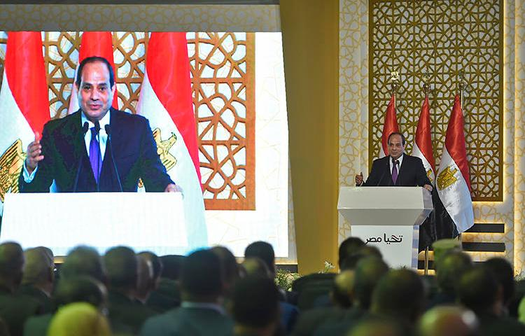 Egyptian President Abdel Fattah al-Sissi gives a speech in capital Cairo on July 24, 2018. Egypt ordered five more journalists detained in the last two weeks of July 2018. (AFP/Khaled Desouki)