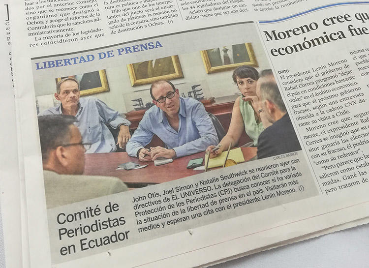 A local newspaper reports on CPJ's meeting with El Universo during a trip to Ecuador in March 2018. (CPJ/Natalie Southwick)