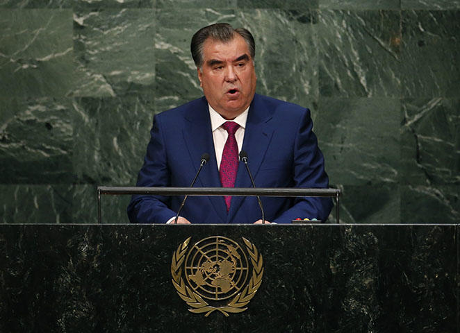Tajik President Emomali Rahmon addresses the UN General Assembly in September 2015. A Tajik court sentenced independent journalist Khayrullo Mirsaidov to 12 years in prison, according to reports. He was arrested in December 2017 after publishing an open letter to Rahmon and others asking them to crackdown on corrupt local authorities, reports stated. (Reuters/Mike Segar)