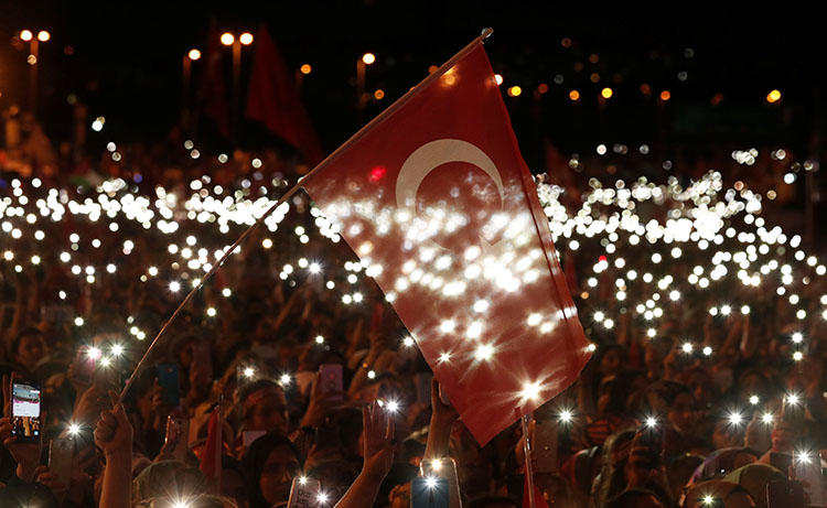 People attend a ceremony marking the second anniversary of the attempted coup in Istanbul, Turkey, July 15, 2018. Turkish authorities cracked down on the press in the coup's wake. (Reuters/Murad Sezer)