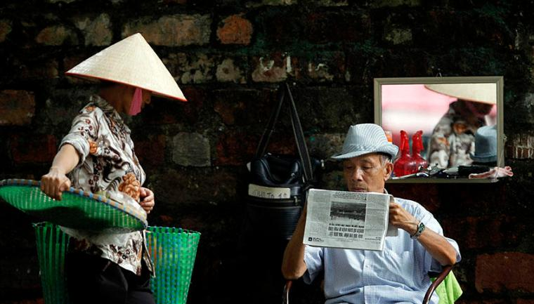 A street in Hanoi, Vietnam in September 2013. Police on July 5, 2018, detained Le Anh Hung, a regular contributor to U.S. Congress-funded Voice of America (VOA) and a prominent independent blogger, on suspicion of