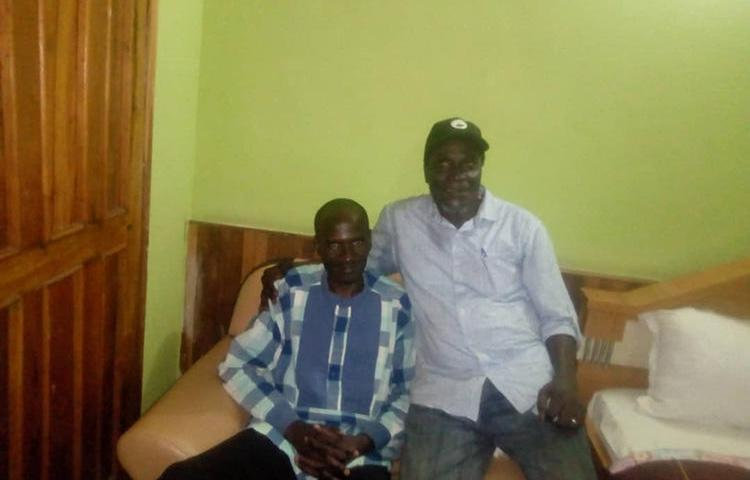 Nigerian journalist Jones Abiri, left, and Alagoa Morris, pictured in Abuja after Abiri's release from detention in 2018. A court on May 22, 2019 charged Abiri on three counts and ordered him detained. (Alagoa Morris)