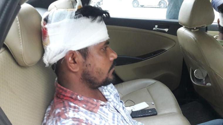 Two journalists, Sandeep Kumar and Neeraj Bali, were attacked while reporting on alleged illegal sand mining in India's Punjab region, according to Kumar and the Indian news website Firstpost. In this image, Kumar is seen after the attack. (Sandeep Kumar)