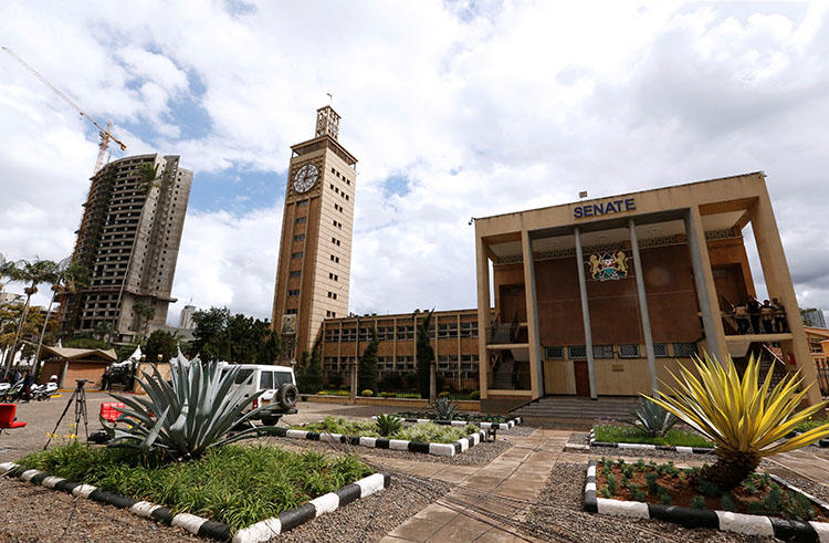 The Parliament buildings in Nairobi, Kenya on May 2, 2018. Dinah Ondari and Anthony Mwangi, journalists with Kenya's People Daily newspaper, were criticized during a parliamentary session, threatened with being barred from covering parliament, and summoned by a legislative committee during the week of July 30, 2018, according to the July 31 Hansard, a verbatim report of proceedings in parliament. (Reuters/Thomas Mukoya)