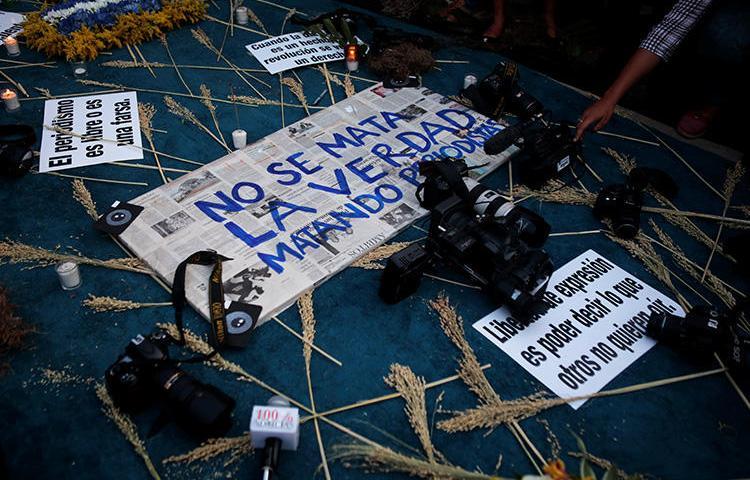 Homenaje al periodista Ángel Eduardo Gahona, asesinado en Managua, Nicaragua, el 26 de abril de 2018. El 27 de agosto dos hombres fueron condenados por el asesinato de Gahona en un juicio criticado por su parcialidad. (Reuters/Oswaldo Rivas)