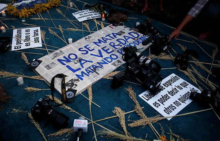 A memorial for slain journalist Angel Eduardo Gahona in Managua, Nicaragua, on April 26, 2018. Two men were convicted in Gahona's killing on August 27, in a trial that was criticized as unfair. (Reuters/Oswaldo Rivas)