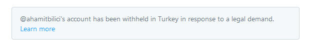 "A screenshot of how a ""withheld"" tweet would appear on the feed of Twitter users in Turkey (Twitter)"