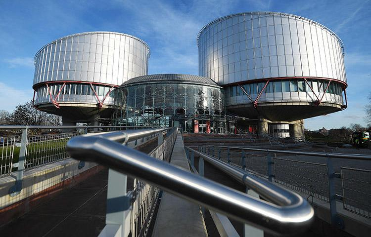 The European Court of Human Rights in Strasbourg. Exiled journalist Emin Huseynov filed a complaint to the court that argues Azerbaijan stripped him of his citizenship in retaliation for his critical views. (AFP/Frederick Florin)