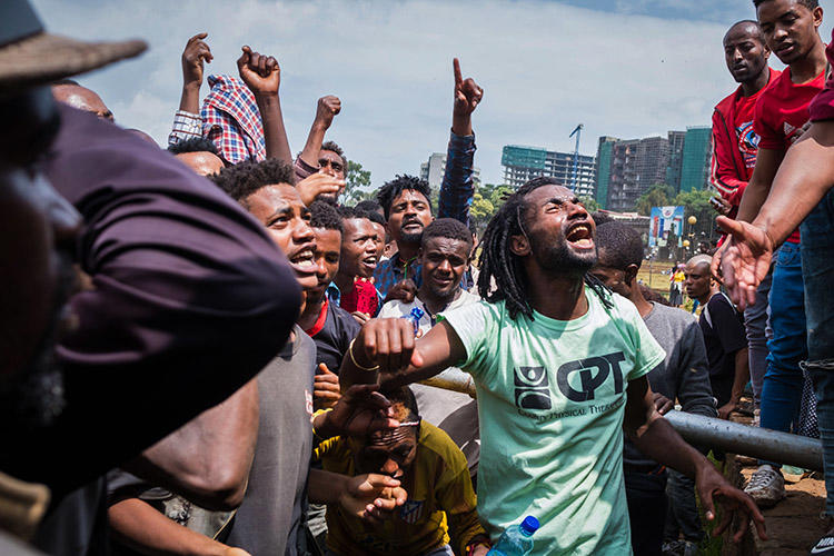 A protest in Addis Ababa on September 17, over clashes that left at least 23 people dead. Access to mobile internet was cut during the unrest. (AFP/Maheder Haileselassie Tadese)