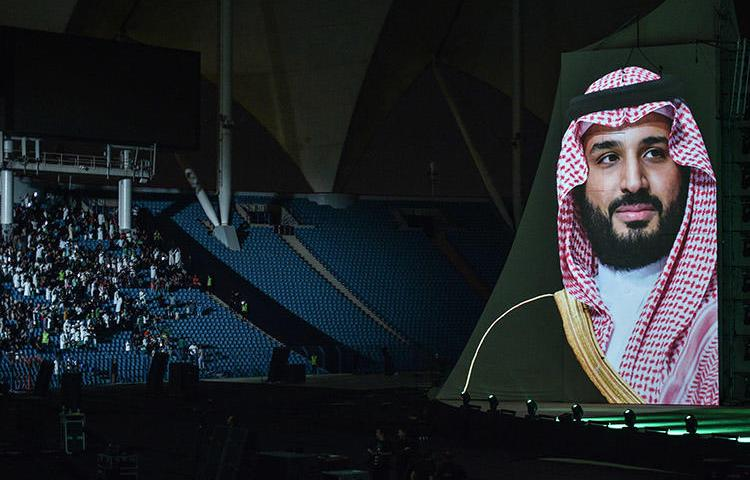 A portrait of Saudi Crown Prince Mohammed bin Salman during National Day celebrations in September 2018. The climate for press freedom has become more repressive under his rule. (AFP/Fayez Nureldine)