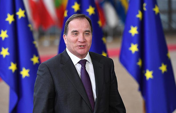 Sweden's Prime Minister Stefan Löfven, pictured in Brussels in December 2017. CPJ is joining calls for Sweden to ensure human rights are upheld in EU negotiations on surveillance equipment exports. (AFP/Emmanuel Dunand)
