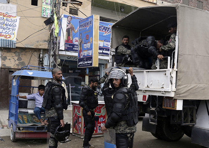 Pakistani paramilitary, pictured in Lahore in July 2018. The country's powerful military restricts reporting by barring access and encouraging self-censorship. (AP/K.M. Chaudary)