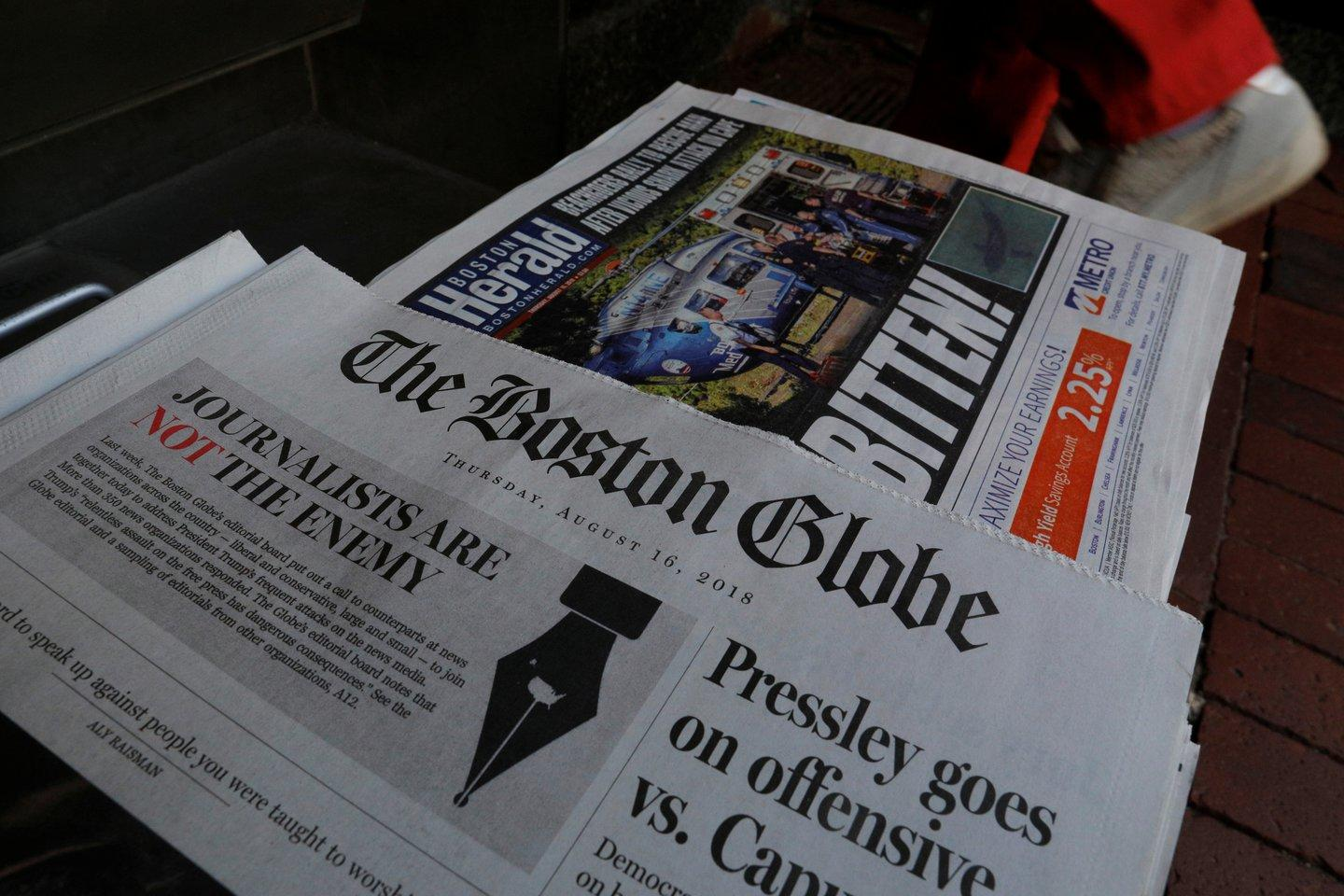 The front page of The Boston Globe, days after it issued a call for editorials that support journalism. (Reuters/Brian Snyder)