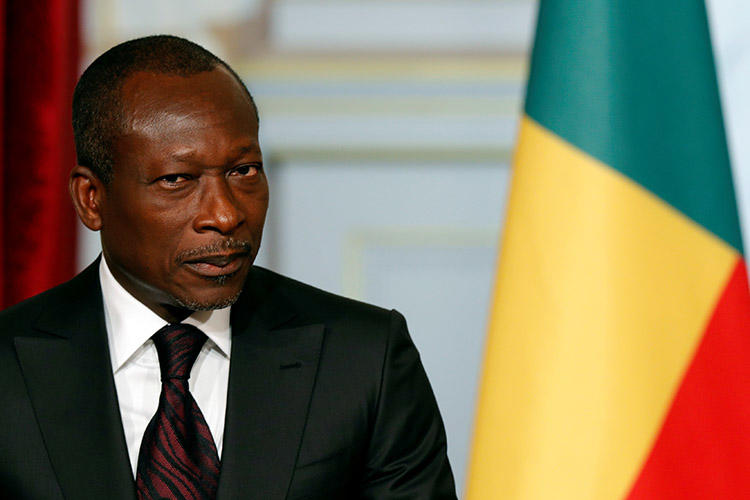Benin's President Patrice Talon, pictured in Paris in April 2016. Benin's media regulator has suspended a newspaper over a series of articles it printed that were critical of the president. (Reuters/Philippe Wojazer)