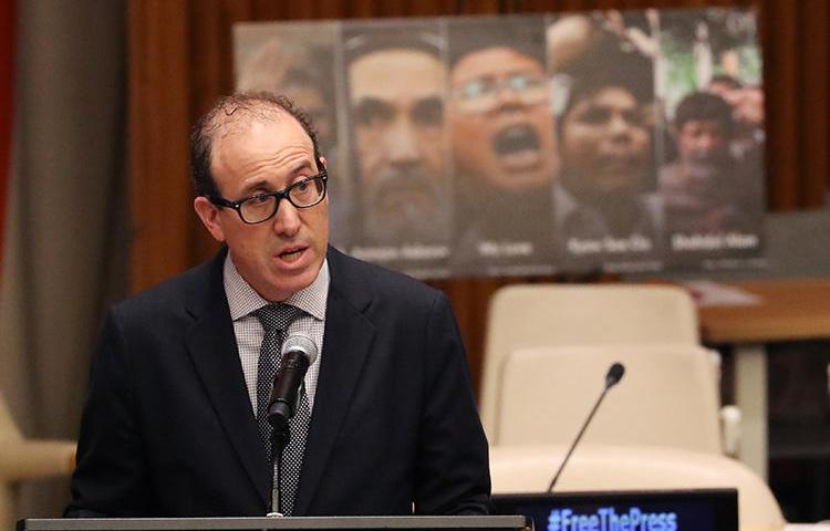 CPJ Executive Director Joel Simon talks about global press freedom violations during a Press Behind Bars panel at the U.N. (Reuters)