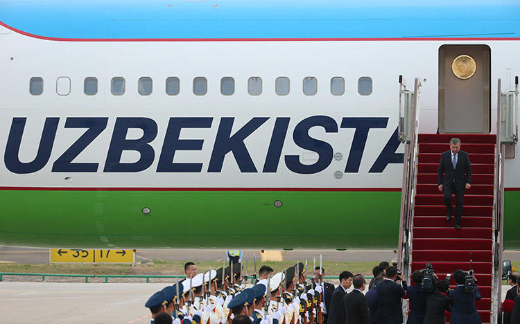 Uzbekistan's President Shavkat Mirziyoyev arrives in China for a summit in June 2018. In recent weeks, police in several Uzbek cities arrested bloggers who cover religious issues. (Pool via Reuters/Wu Hong)