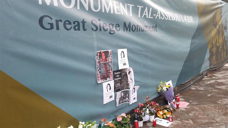 A memorial in Valletta for investigative journalist Daphne Caruana Galizia, who was murdered in Malta last year. (CPJ)