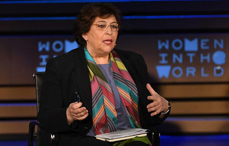 Yevgenia Albats, editor-in-chief of The New Times, speaks at the Women of the World Summit in New York City in April 2018. A Russian court has ordered her news outlet to pay a fine of 22.3 million rubles. (AFP/Angela Weiss)