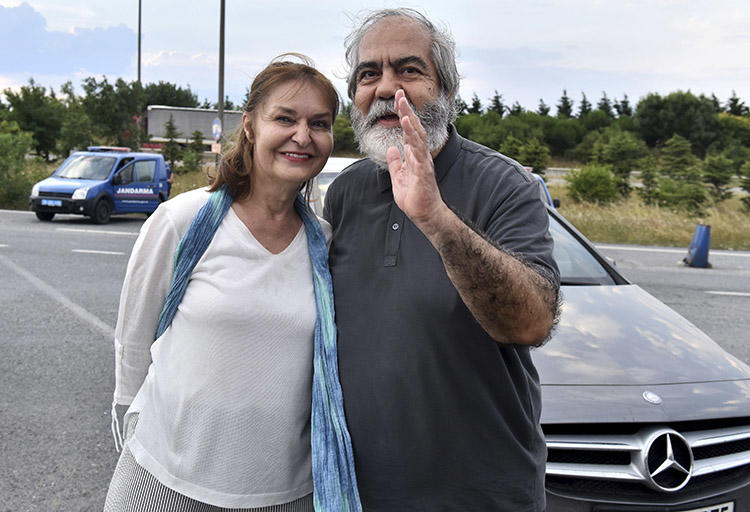 Mehmet Altan, pictured with his wife Umit Altan, after his release from prison in June. A court of appeals in October upheld a life sentence without patrol for Altan, his brother Ahmet, and fellow Turkish journalists Nazlı Ilıcak and Fevzi Yazıcı. (DHA-Depo Photos via AP)