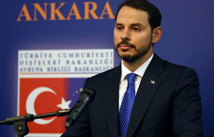 Turkey's Treasury and Finance Minister Berat Albayrak, pictured at a press conference in Ankara in August 2018. A Turkish newspaper is accused of insulting the minister through its reporting. (AFP/Adem Altan)