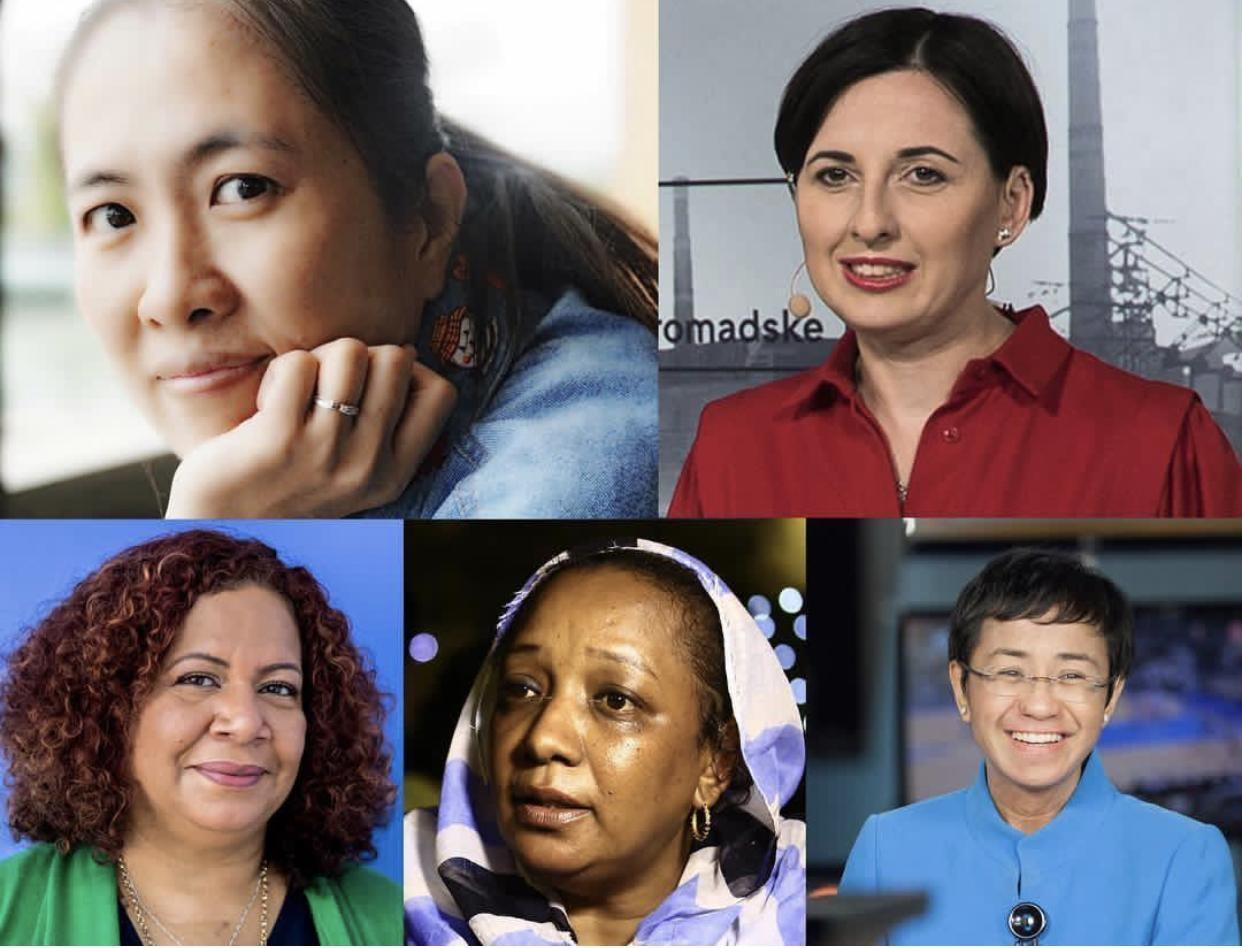 Clockwise from top left: Nguyen Ngoc Nhu Quynh (Family Photo), Anastasiya Stanko (Homradske), Maria Ressa (Maria Ressa), Amal Khalifa Idris Habbani (AFP), and Luz Mely Reyes (Luz Mely Reyes)