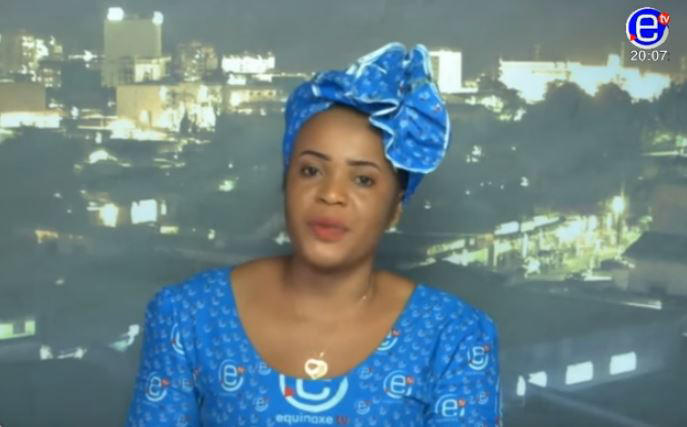 A screen shot of Cameroonian journalist Mimi Mefo speaking during a broadcast of her show on Equinoxe TV.