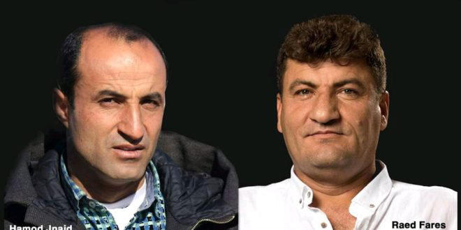 Journalists Hamoud al-Jneid (left) and Raed Fares, who were gunned down by unknown assailants in the city of Kafranbel in northwestern Syria on November 23, 2018. (Radio Fresh)