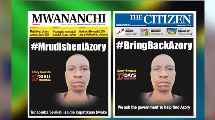 A screen shot from December 2017 displaying the front pages of Tanzanian newspapers Mwananchi and The Citizen, calling on the Tanzanian government to help find missing journalist Azory Gwanda. November 21, 2018, marked the one-year anniversary of Gwanda's disappearance. (MCL Digital)