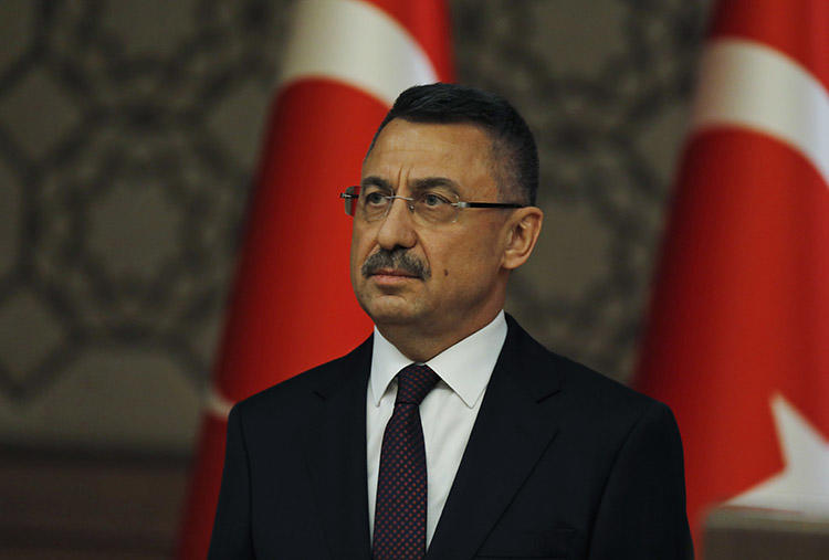 Turkey's Vice President Fuat Oktay, pictured in Ankara in July 2018. Oktay said during parliamentary questions that authorities have revoked nearly 2,000 press credentials in the past three years (AP/Burhan Ozbilici)