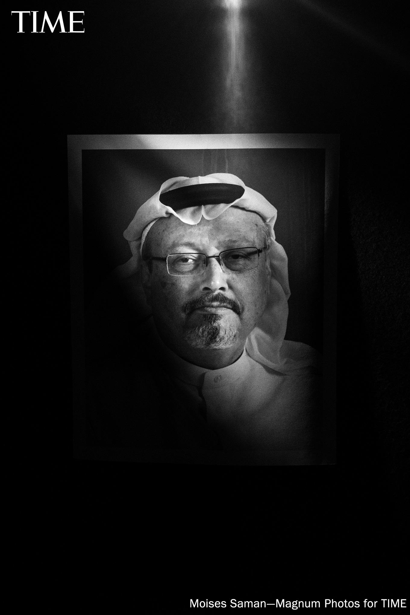 """Saudi journalist and Washington Post columnist Jamal Khashoggi was among """"The Guardians,"""" a group of journalists chosen as TIME Person of the Year 2018 on Tuesday. On October 2, Khashoggi was murdered by agents of Saudi Arabia inside its Istanbul consulate, while his fiancée waited for him outside. (Moises Saman--Magnum Photos for TIME [Source photo: Alamy])"""