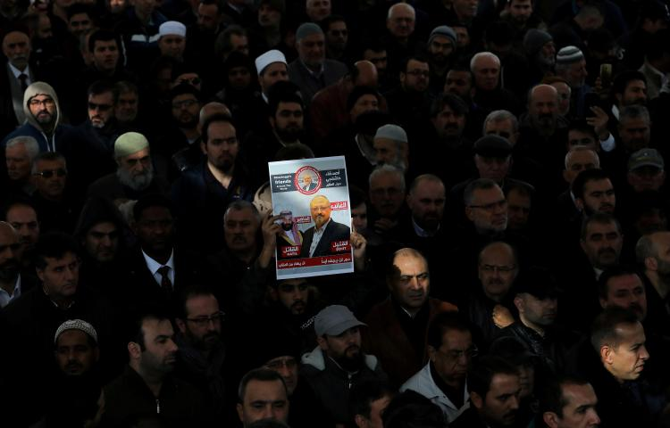 People attend a symbolic funeral prayer for slain Saudi journalist Jamal Khashoggi in Istanbul, Turkey, on November 16, 2018. (Huseyin Aldemir/Reuters)