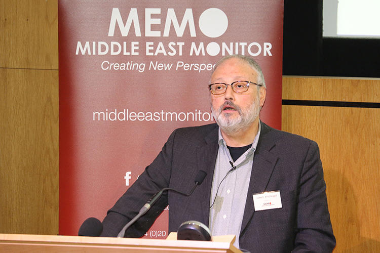 Saudi journalist Jamal Khashoggi speaks at an event hosted by Middle East Monitor in London on September 29, 2018. He was killed in the Saudi consulate in Istanbul, Turkey, on October 2. (Middle East Monitor/Handout via Reuters)