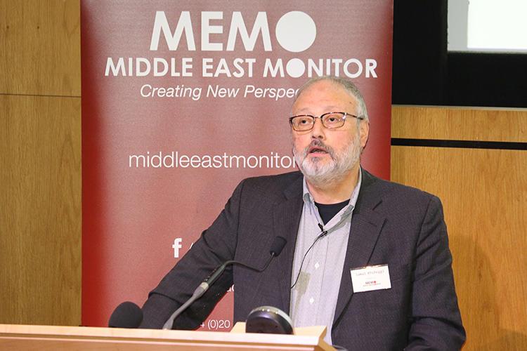 2018年9月29日,沙特记者贾马尔·卡舒吉在中东新闻观察在伦敦举办的一场活动上发言。10月2日,卡舒吉在沙特阿拉伯驻土耳其伊斯坦布尔领事馆中被谋杀。(中东新闻观察/路透社讲义)
