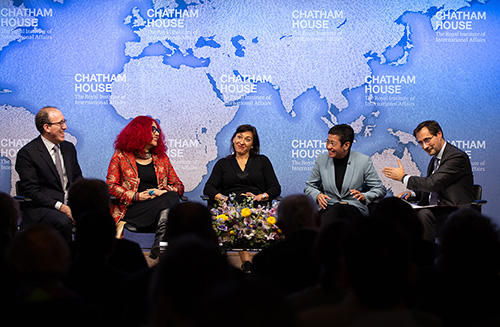A panel discussion at Chatham House in London after CPJ accepted the 2018 Chatham House Prize. (Chatham House/Suzanne Plunkett)