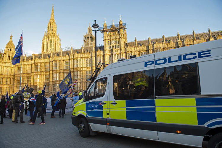 Police officers watch as anti-Brexit activists demonstrate opposite the Houses of Parliament in London on January 8, 2019. Police were called in after journalists and a member of parliament were harassed by pro-Brexit demonstrators on January 7.