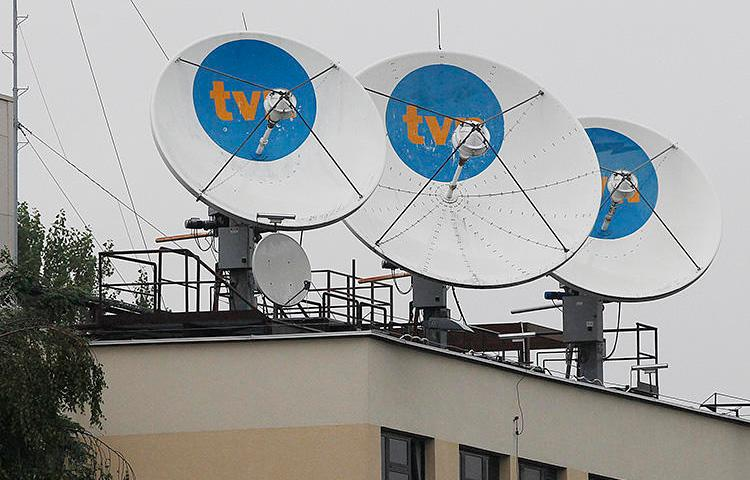The TVN headquarters in Warsaw, pictured in September 2017. Poland's Internal Security Agency raided the home of one of the broadcaster's reporters over his undercover reporting. (AP/Czarek Sokolowski)