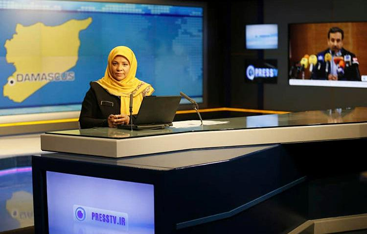 American-born news anchor Marzieh Hashemi seen at a television studio in Tehran, Iran. She was detained in the U.S. on January 13, 2018. (Press TV via Associated Press)