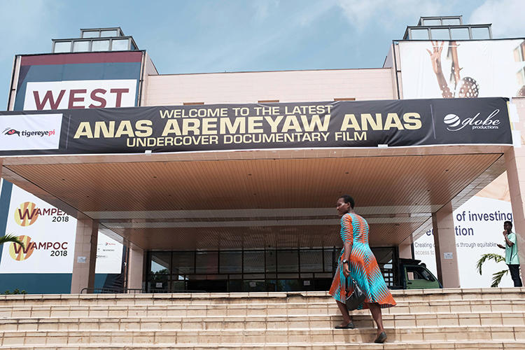 The Accra International Conference Centre screened a documentary by undercover journalist Anas Aremeyaw Anas in Accra, Ghana, on June 7, 2018. Ahmed Hussein Suale Divela, who was involved in the film, was murdered on January 16.