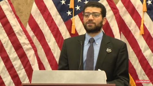 CPJ's Sherif Mansour speaks at an event at the U.S. Capitol marking 100 days since the murder of journalist Jamal Khashoggi. (Screenshot from Facebook)