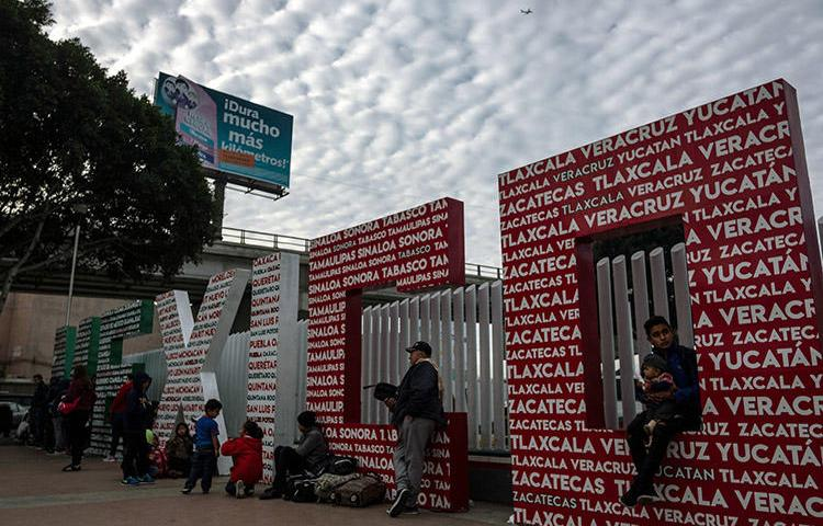 The El Chaparral crossing port at the US-Mexico border, in Tijuana, Mexico, on January 29. Mexico's border agents denied entry to at least two international journalists covering the migrant caravan. (AFP/Guillermo Arias)